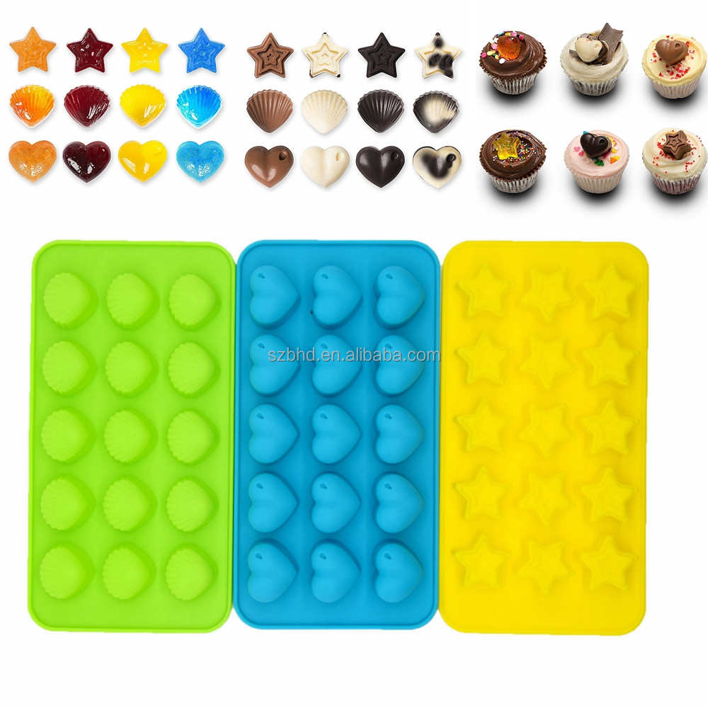 Amazon Hot 3-piece Mini Star, Heart and Shell Shape Silicone Candy Molds, Chocolate Molds