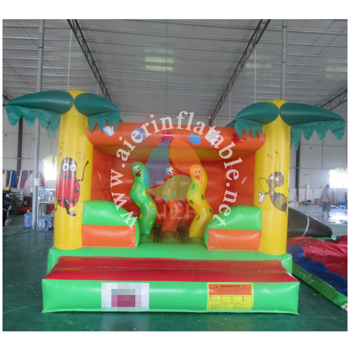 Inflatbale bouncer with worm, high quality commercial jumping castle for kids, commercial inflatable open entrance jumper