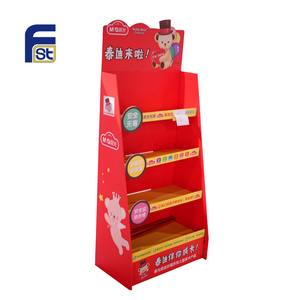 Red color Corrugated Carton Floor Display Rack / Paper Display Stand Shelf Unit / Custom Cardboard Products Display Stand
