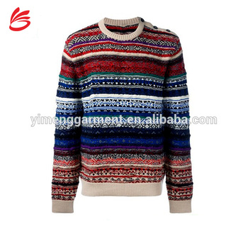Multi Color Crew Neck Knitted Jumper Mens Intarsia Sweater With