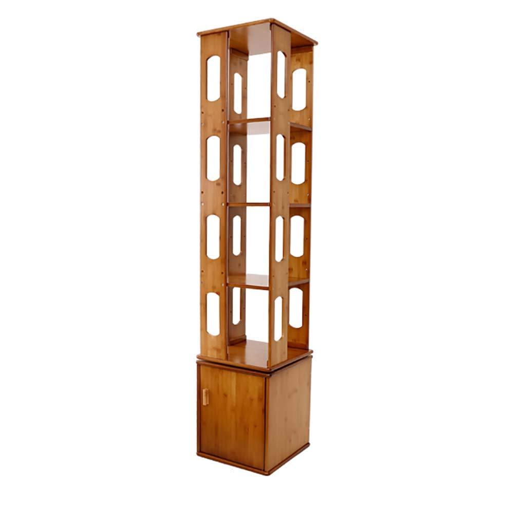 Bookshelf 360 Degree Rotating with Door Easy Shelf Multi-Layer Bamboo Floor-Standing Creative Children's Bookcase (Color : Style2, Size : 5-Tier)