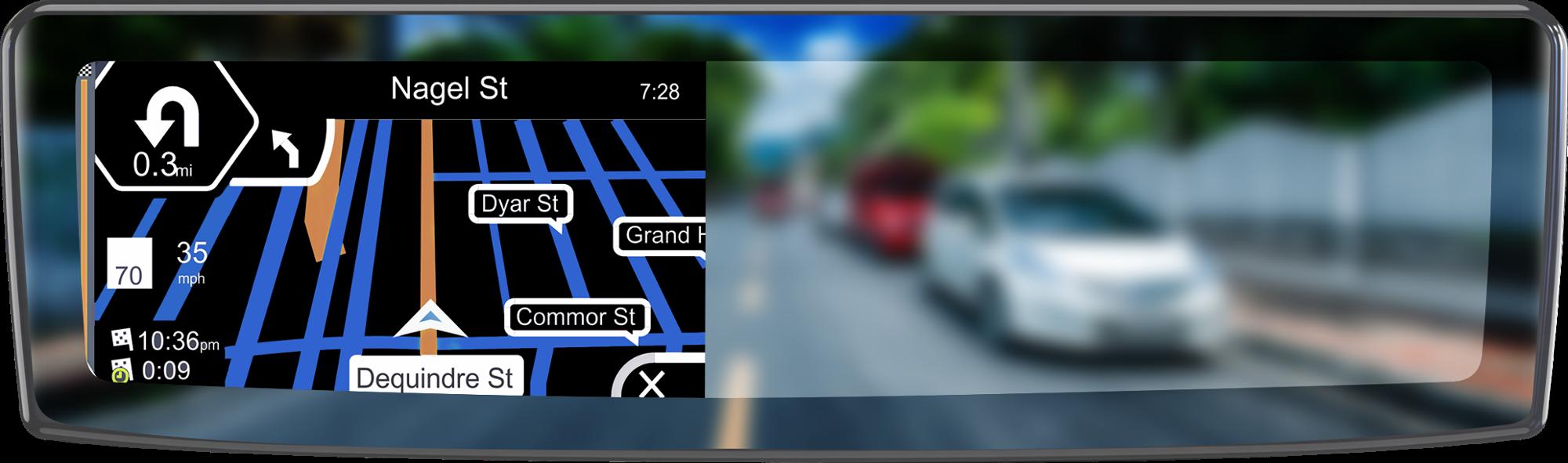 """4.3 """"LCD màn hình gương chiếu hậu máy ảnh hiển thị gps navigation phản ánh bằng USB dây để hoạt động waze bản đồ của google trên android iphone"""
