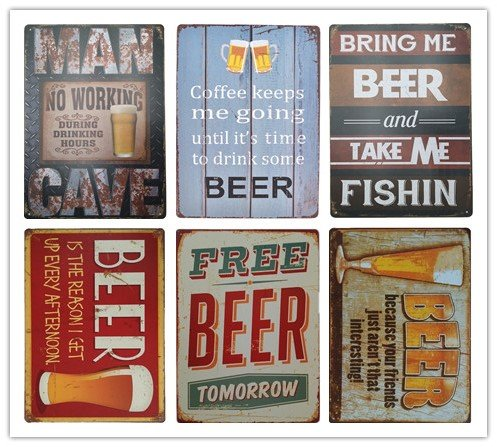 Cerveja decorativa assina placas de metal 9x12