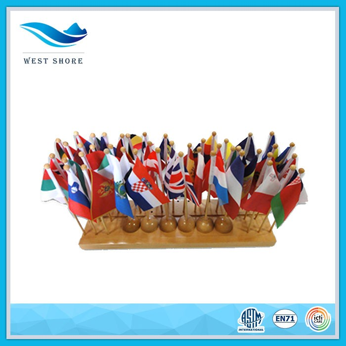 Best Quality Nursery School Desktop Montessori Wooden Table Top Flag Stand