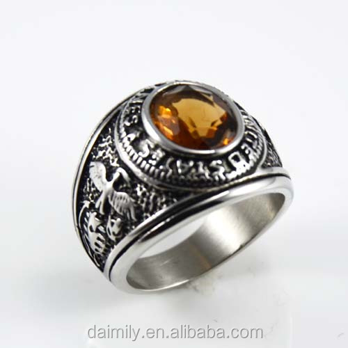 Daimily fashion jewelry manufacturer vintage military rings with gemstone rings