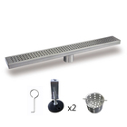 32 Inch Linear Drain For Shower with Grate Cover Linear Floor Drain Brushed Nickel, Shower Bathroom Drain with Leveling Feet