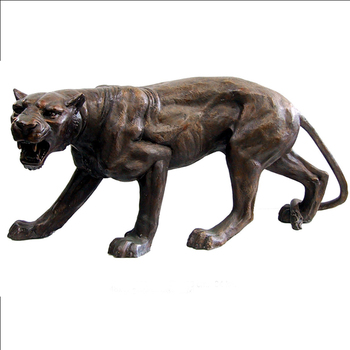 Growling Casting Bronze Life Size Panther Statue For