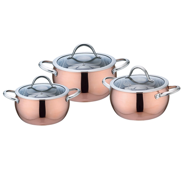 apple shape triply casserole cooking pot stainless steel cookware set for kitchen