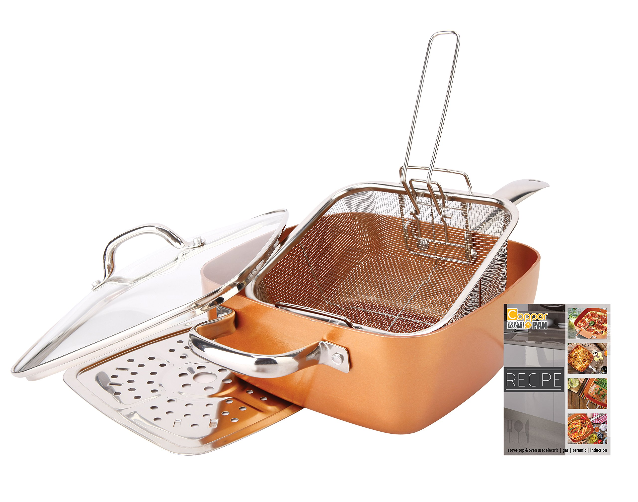 "Non-Stick Copper Titanium Chef 5 Piece 9.5"" Square Pan Set"