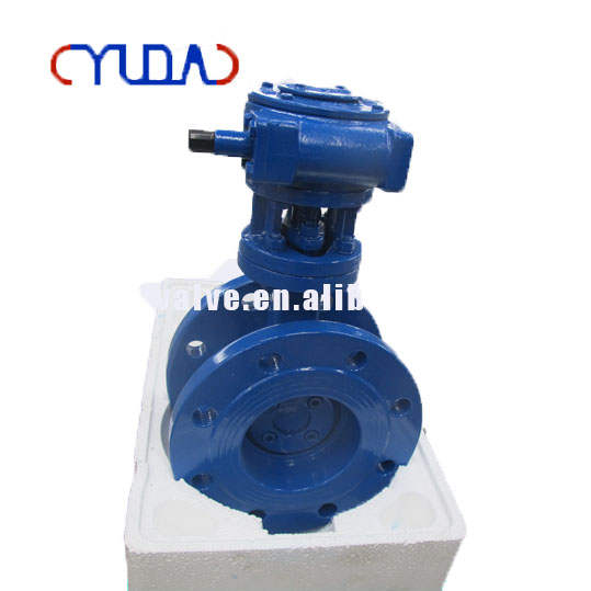 Worm Actuated Four Fluorine / Metal seated Flange Butterfly Valve Price