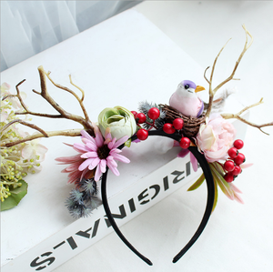 Sen female berry flower antlers headband headdress bird christmas headband