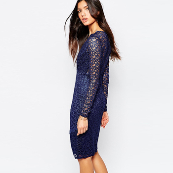 96ea6c90b307 ladies western dress designs long sleeve deep V neck navy blue lace dress  sexy midi bodycon