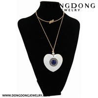 CL042 silver plated alloy heart shape pendant with round jade necklace fashion jewelry