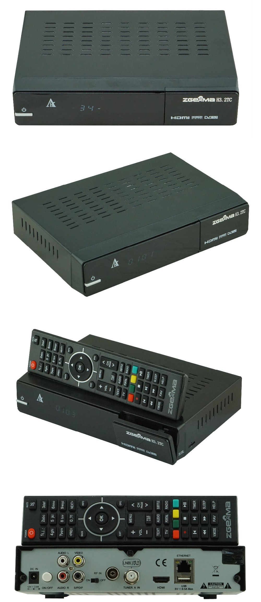 2017 New Version Combo Receiver Zgemma H3.2TC Dual Core Linux OS Enigma2 with DVB-S2+2*DVB-T2/C Dual Tuners