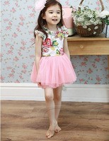 kids clothing manufacturer 2015 spring girls rose dress joint pink children tutu skirt for girls princess lace dress