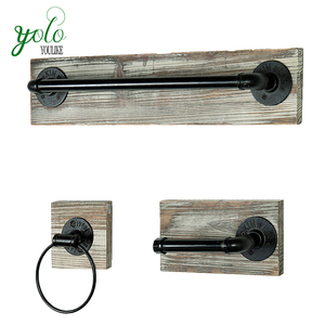 Pretty Wall Mounted Industrial Rustic Wooden 3 Piece Bathroom Bath Towel Bar With Towel Ring And Tissue Holder