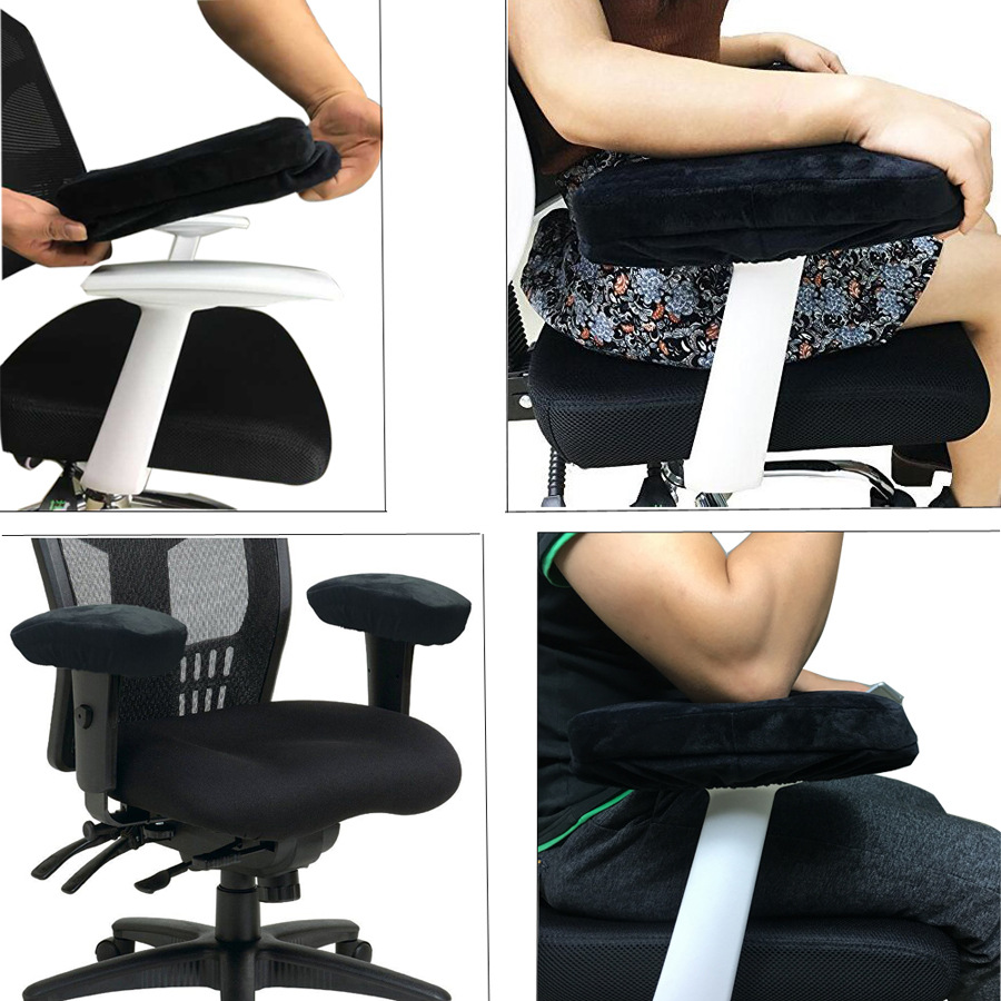 Ergonomic Memory Foam Chair Armrest Pad, Comfy Office Chair Arm Rest Cover for Elbows and Forearms Pressure Relief