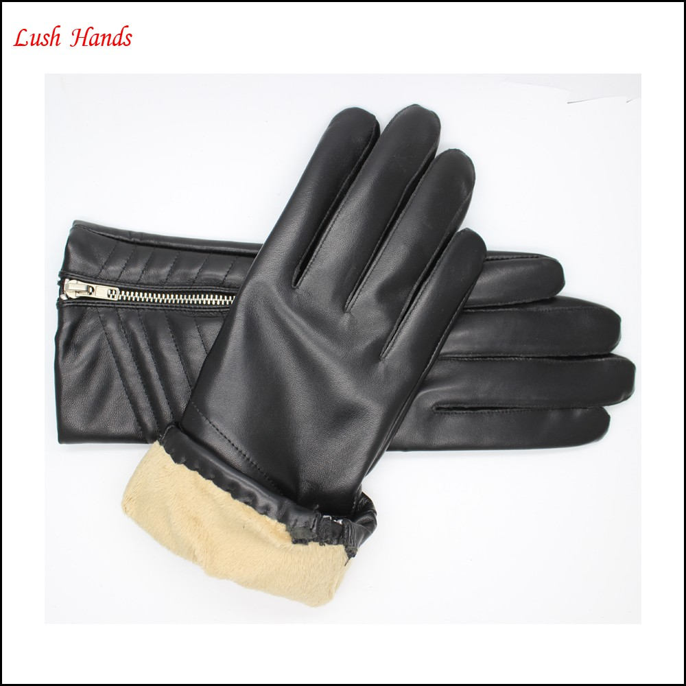 Women 's leather gloves with Zipper and quilting seam