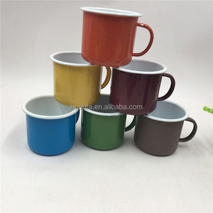 The world's most popular products Orange yellow green blue brown enamel camping mug with enamel handle