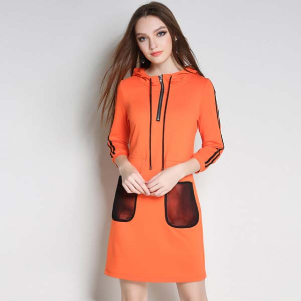 2017 new item Spring sport women dress orange color with net pocket and hooded zipper ladies dress