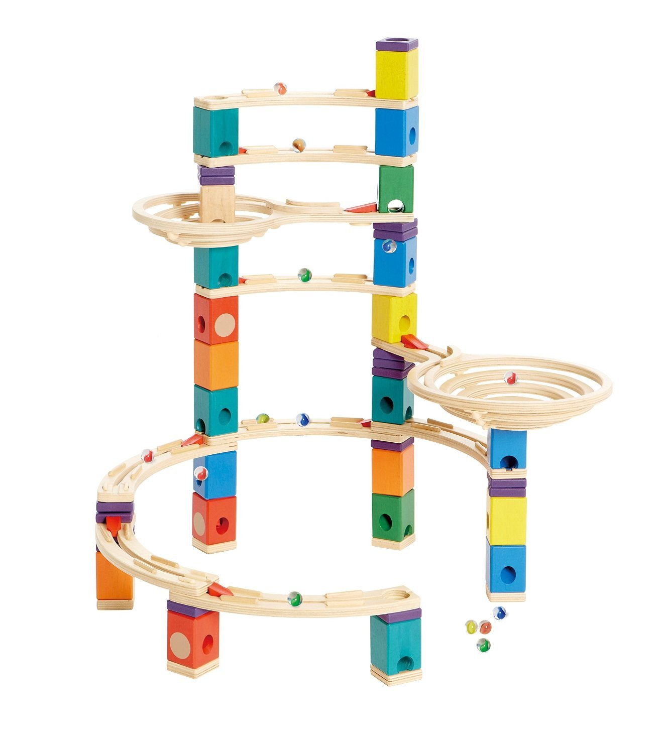 Hape Quadrilla Wooden Marble Run Construction - Typhoon - Quality Time Playing Together Wooden Safe Play - Smart Play for Smart Families