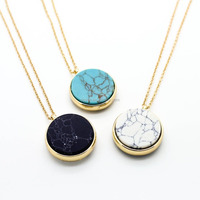 Inspire stainless steel jewelry round marble stone long gold sweater necklace for women 2018 gemstone necklace