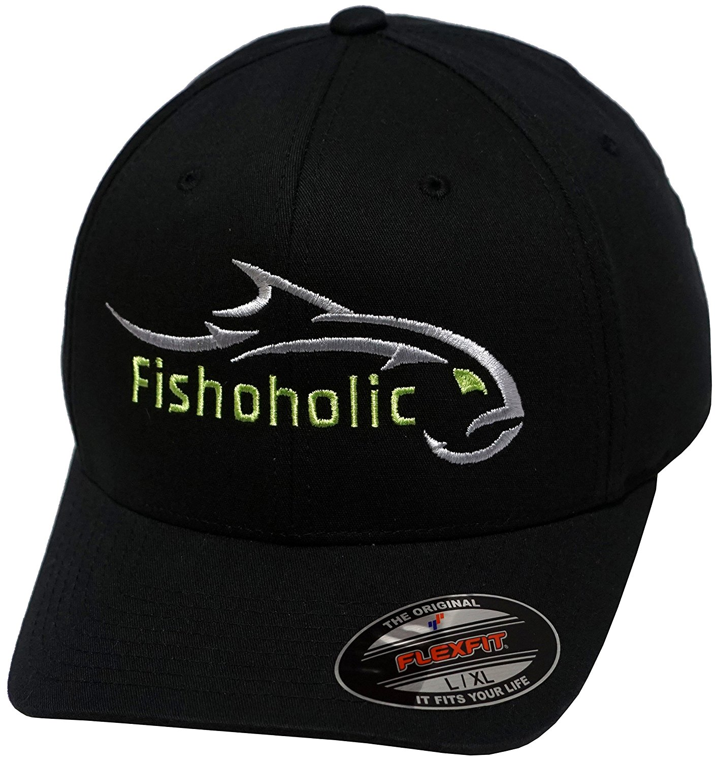 Fishoholic R Flexfit Black Baseball Fishing Hat w' Silver & GREEN Embroidery Front & Back. Great Gift. Fishaholic USPTO Registered Trademark. (FF-blk-SlvrGREEN-L/XL)