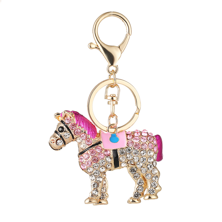 Wholesale Custom Colorful Crystal Horse Shape Rhinestone Keychain