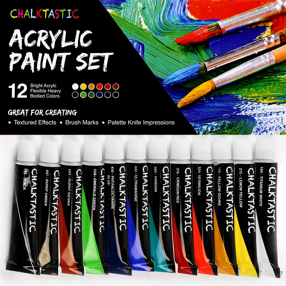 Quality Acrylic Paints - Best Acrylic Paint Set For Painting Canvas, Wood, Fabric, Clay, Ceramics, Glass, Nail Art & Crafts 12X12ml Carefully Selected Colors – Great For Beginners, to Hobby Painters