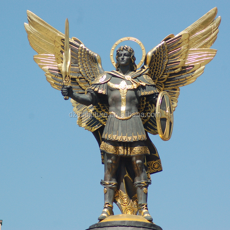 Large fiberglass life size archangel Michael statue for outdoor decoration