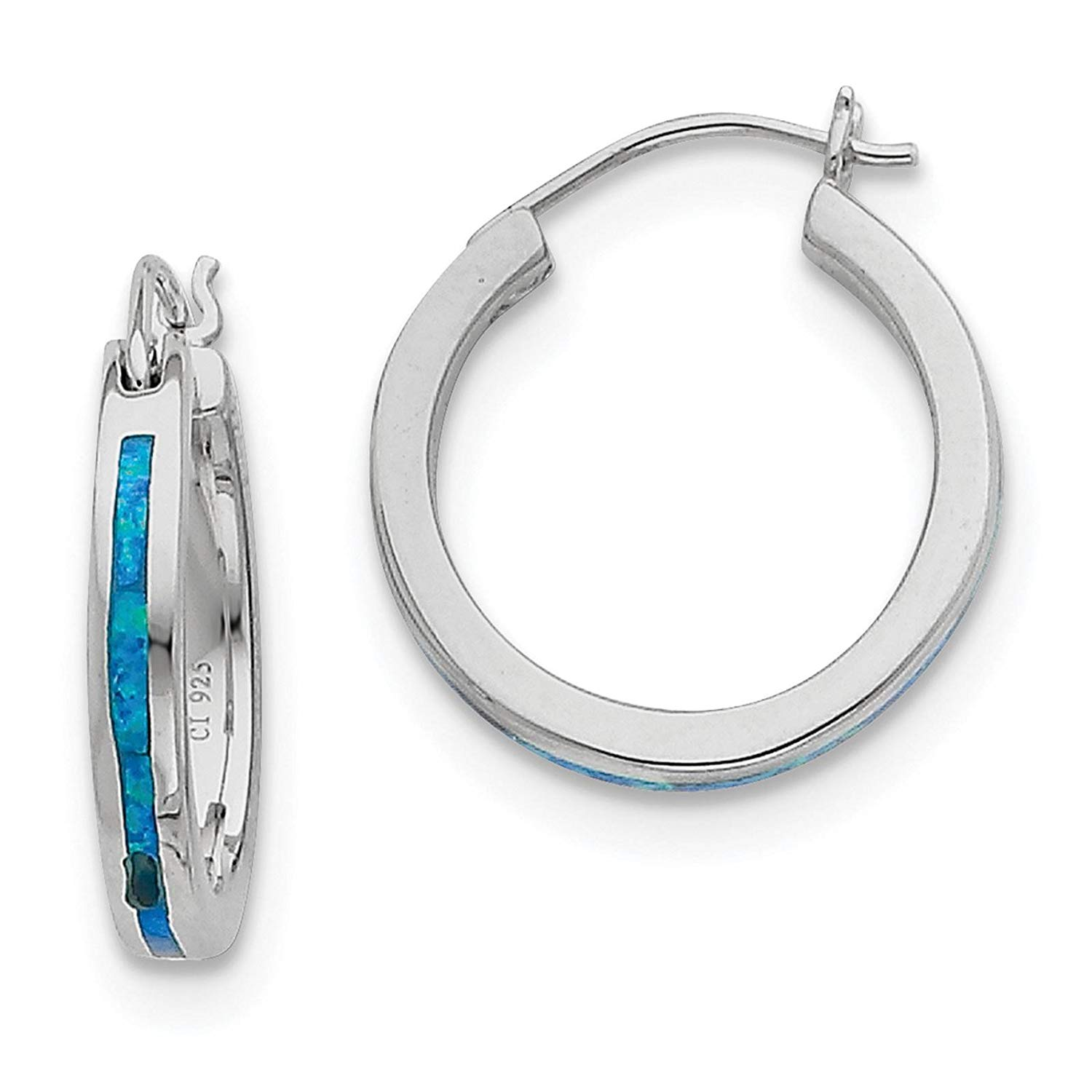 .925 Sterling Silver Blue Created-Opal Inlay Hoop Earrings