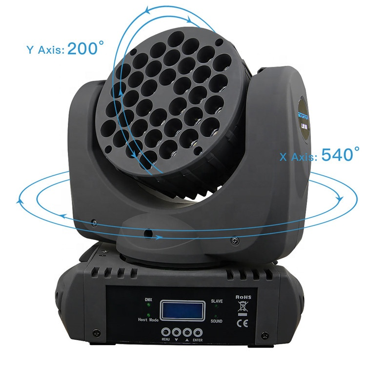 BETOPPER 36 LED RGBW Stage Led Light Moving Head Light LM108 Exterior Dimensions