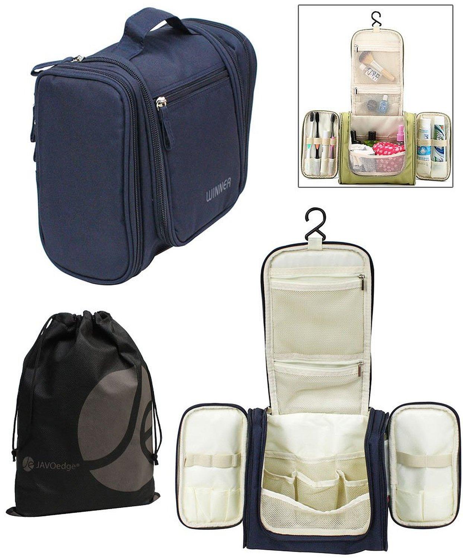 JAVOedge Personal Travel Bathroom Hanging Organizer for Toiletries, Cosmetic, Makeup with Bonus Drawstring Bag