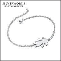 Wholesale 925 Sterling Silver Polished Dangle Boy Girl Charms Bracelet With Zicron