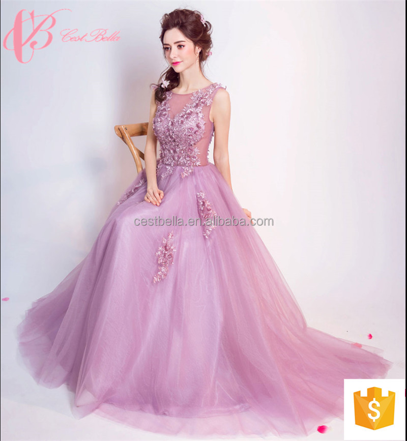 Venta al por mayor vestidos elegantes largos purpura-Compre online ...