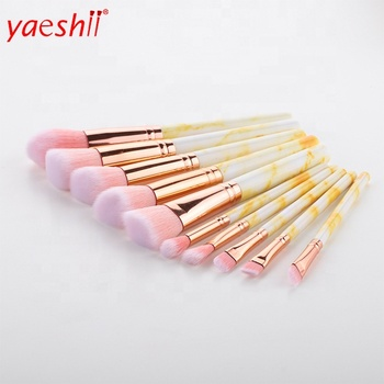 Yaeshii Professional 10pcs Marble Makeup Brushes Set Soft Foundation Powder Eyeshadow Brush Beauty Marble Make Up Tools