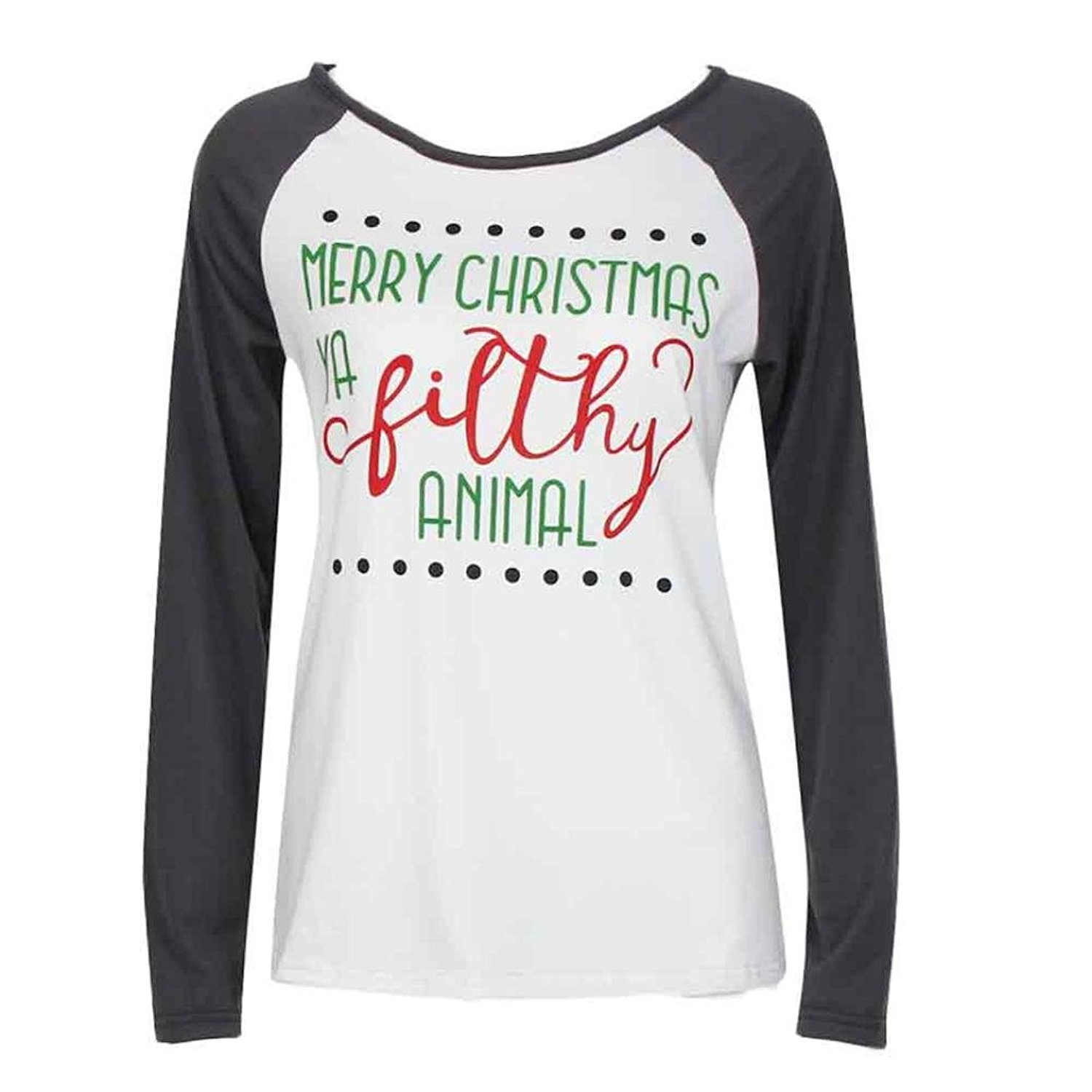 c8a4997cc207a Get Quotations · Tsmile Women Blouse Clearance Xmas Long Sleeve Merry  Christmas Letter Printed Round Neck T-Shirt