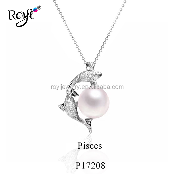 Horoscope  Pisces Pendant White Freshwater Pearl 925 Sterling Silver Necklace