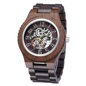 Luxury Dress Men Mechanical Wooden Clock OEM Logo Automatic Wood Watch