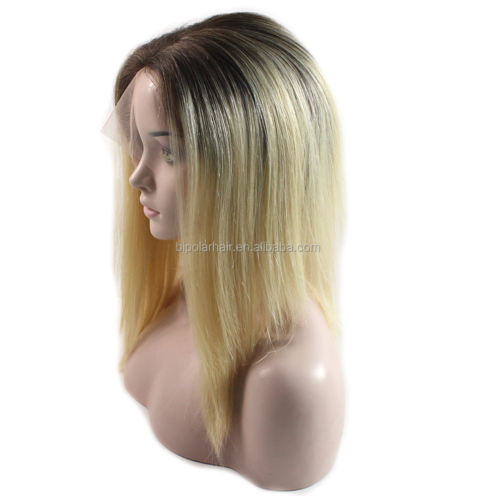 Blonde Color Dyed Roots Remy Hair Full Hand Tied Wigs