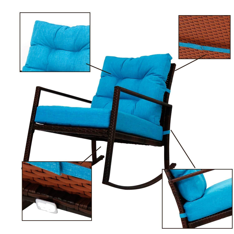 Kinbor Outdoor Furniture Patio Rocking Chair Armchair Rattan Rocker Chair Outdoor Garden Rocking Chair Wicker Lounge Thick, Washable Cushions Backyard, Pool, Porch w/Cushion (Blue)