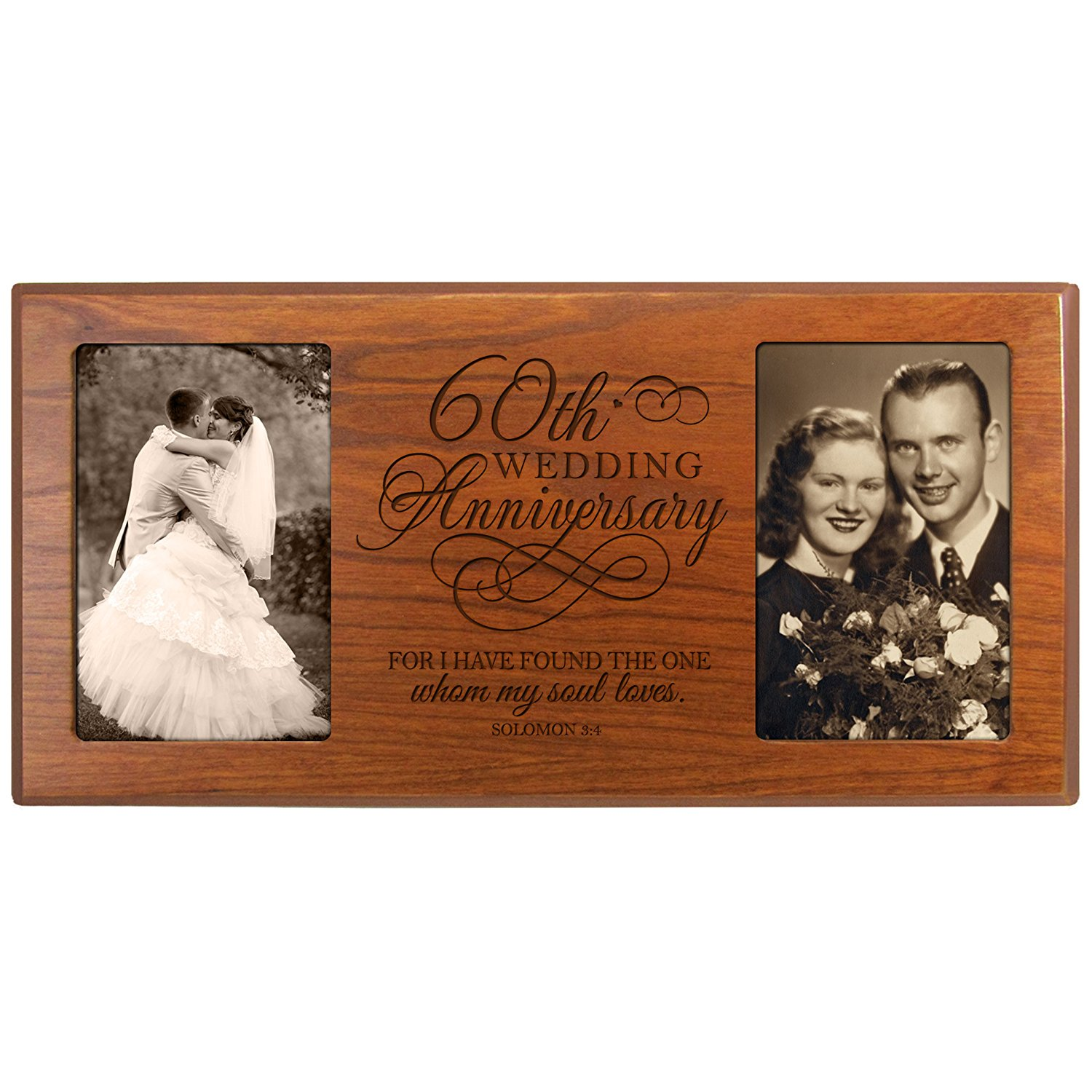 Personalized 60th Anniversary Gifts Picture frame custom 60 year wedding anniversary gift housewarming ideas for parents Couple him and her I have found the one whom my soul loves Solomon 3:4 (Cherry)
