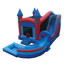 Funny Air Castle , Inflatable Bouncy Castle With Water Slide