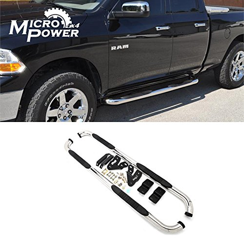 """VIOJI Brand New 2pcs 3"""" Round Style Chrome Polished Stainless Steel S/S Side Step Nerf Bars Running Boards For 09-14 Dodge Ram 1500 10-14 2500/3500 Crew Cab (With 4 full size doors)"""