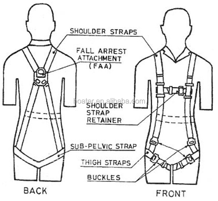 Work At Height Safety Belt Body Harness With Lanyard