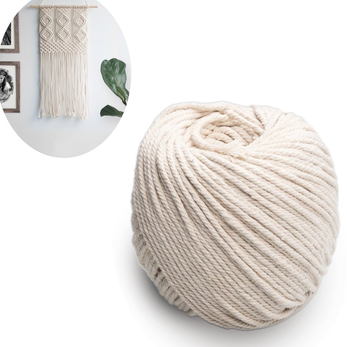 (4mm x 100m(about 109 yd)) 100% Natural Cotton Rope, CBTONE Handmade Decorations Natural Cotton Bohemia Macrame DIY Wall Hanging Plant Hanger Craft Making Knitting Cord Rope Natural Color Beige