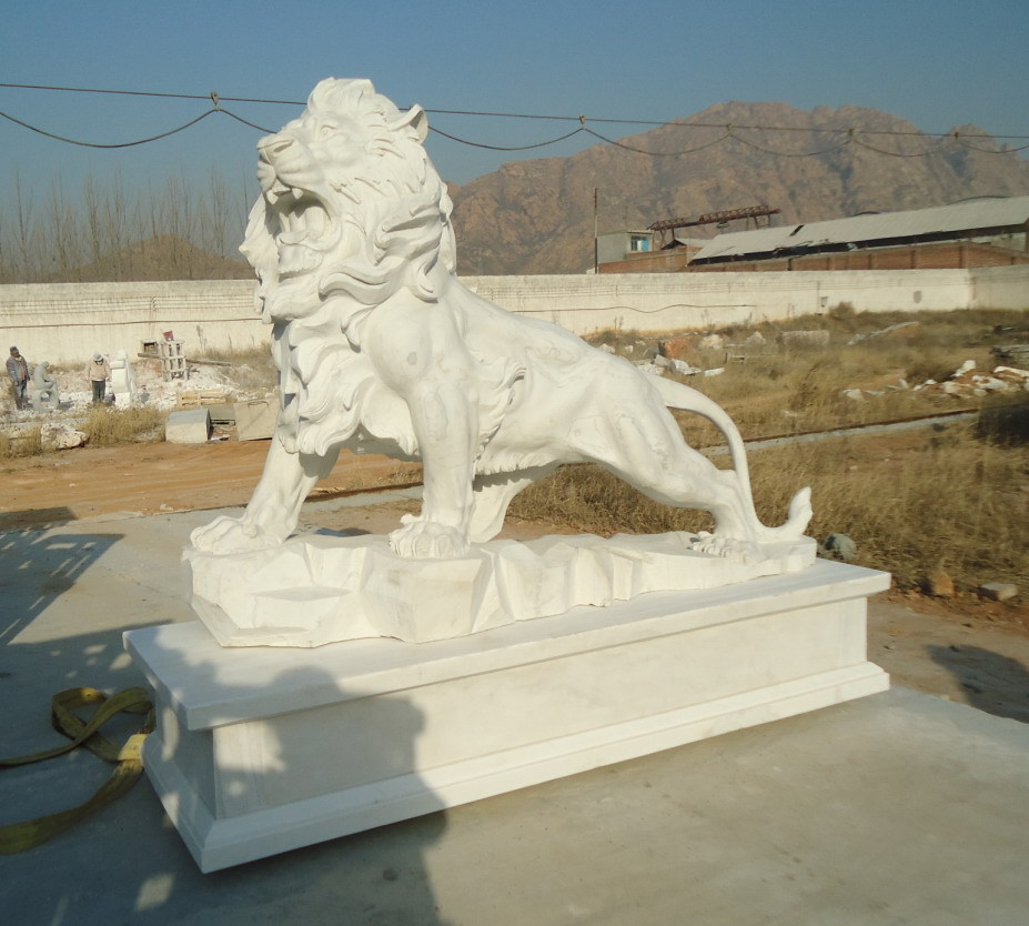Marvelous White Stone Lion Statue With Wing, Marble Lion Statue, Outdoor Marble Lion