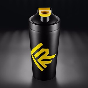 750ml Matte black Color Sport Shaker Bottle Protein with Yellow Lid