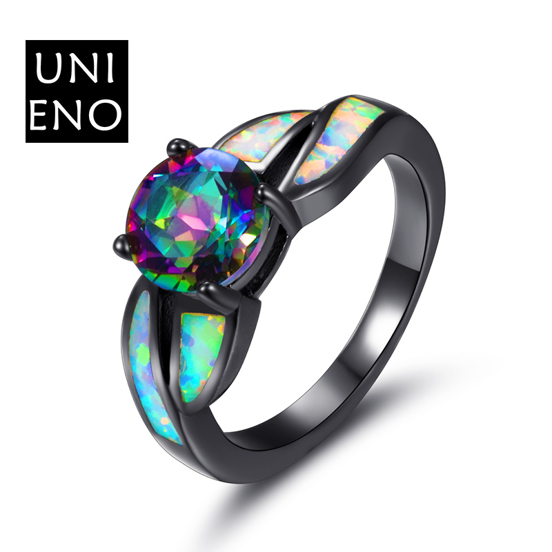 Fashion Shaped Ring AAA CZ Black Gold Filled Red Purple Stone Crystal Ring For Women Wedding