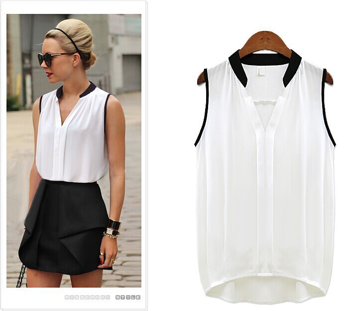 Women s Blouses Sleeveless Chiffon V Neck Loose Summer Style Ladies Casual Tops Female Clothing 2015